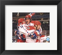 Alex Ovechkin, Nicklas Backstrom, & Mike Knuble Celebrate 2011 NHL Winter Classic Framed Print