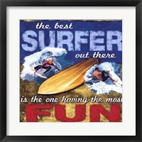Fun- Surfing Framed Print