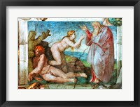 Framed Sistine Chapel ceiling: Creation of eve, with four Ignudi, 1511