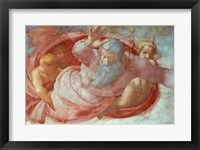 Framed Sistine Chapel: God Dividing the Waters and Earth