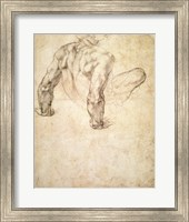 Framed W.63r Study of a male nude, leaning back on his hands