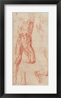 Framed W.13r Study of a male nude, stretching upwards