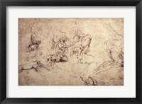 Framed W.61v Male figure studies