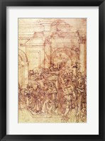 Framed W.29 Sketch of a crowd for a classical scene