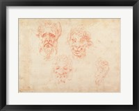 Framed W.33 Sketches of satyrs' faces