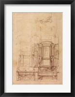 Framed W.26r Design for the Medici Chapel in the church of San Lorenzo, Florence