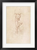 Framed W.53r The Risen Christ, study for the fresco of The Last Judgement in the Sistine Chapel, Vatican