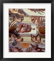 Framed Sistine Chapel Ceiling (1508-12): The Separation of the Waters from the Earth, 1511-12