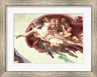 Framed Sistine Chapel Ceiling: The Creation of Adam, detail of God the Father, 1508-12
