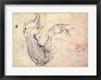 Framed Preparatory Study for the Arm of Christ in the Last Judgement, 1535-41
