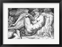 Framed Leda, engraved by Jacobus Bos, Boss or Bossius