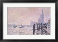 Framed Thames below Westminster, 1871