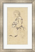 Framed Women holding a small dog, 1857