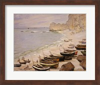 Framed Boats on the Beach at Etretat, 1883