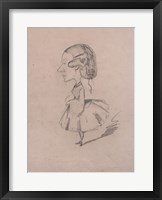 Framed Young girl in profile with a sharp nose