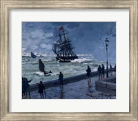 Framed Jetty at Le Havre, Bad Weather, 1870