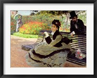 Framed Madame Monet on a Garden Bench