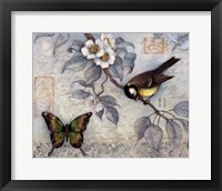 Framed Blue Bird & Butterfly