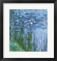 Framed Waterlilies (blue & green vertical)