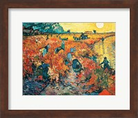 Framed Red Vineyards at Arles, 1888