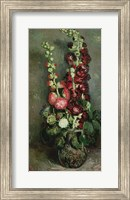 Framed Vase of Hollyhocks, 1886