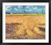Framed Wheatfield with Sheaves, 1888 - wheat pile