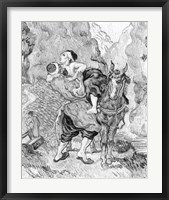 Framed Good Samaritan, after Delacroix, 1890