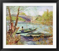 Framed Fishing in the Spring. Pont de Clichy, 1887