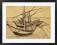 Framed Fishing Boats on the Beach at Saintes-Maries-de-la-Mer, 1888