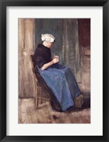 Framed Young Scheveningen Woman Knitting, Facing Right