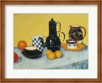 Framed Still Life with Blue Enamel Coffeepot, Earthenware and Fruit