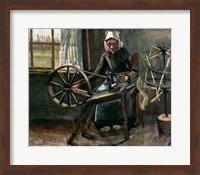 Framed Peasant Woman Winding Bobbins