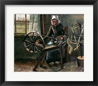 Framed Peasant Woman Winding Bobbins