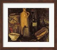 Framed Still life with pots, bottles and flasks