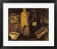 Framed Still life with pots, bottles and flasks