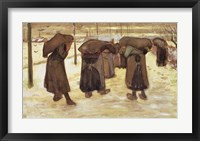 Framed Miners' wives carrying sacks of coal, 1882