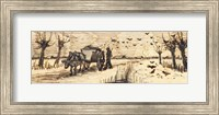 Framed Ox-Cart in the Snow