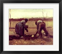 Framed Two Peasants Planting Potatoes, 1885