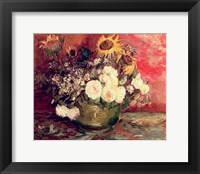 Framed Sunflowers, Roses and other Flowers in a Bowl, 1886