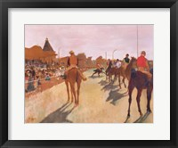 Framed Parade, or Race Horses in front of the Stands