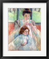 Mother Sewing and Child Framed Print