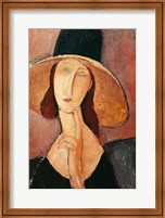 Framed Portrait of Jeanne Hebuterne in a large hat, c.1918-19