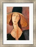 Framed Portrait of Jeanne Hebuterne in a large hat, c.1918-19
