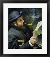 Framed Claude Monet reading a newspaper