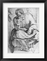 Framed Prophet Jeremiah, after Michangelo Buonarroti