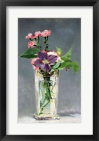 Framed Pinks and Clematis in a Crystal Vase, c.1882