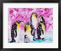 Framed Penguins Under Magenta Sky