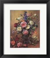Framed Roses in a Blue Vase