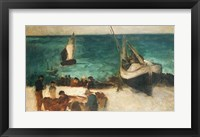 Framed Seascape at Berck, Fishing Boats and Fishermen, 1872-73