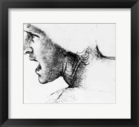 Framed Study for the head of a soldier in 'The Battle of Anghiari'